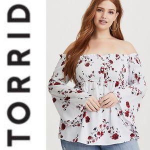 TORRID Striped Floral Off The Shoulder Blouse